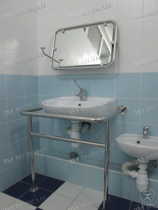 Поручень для раковины на стойках с защитой слива раковины РС3 в комплекте с откидным зеркалом