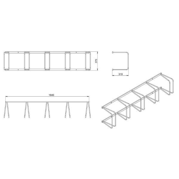 размеры вертикальной велопарковки - схема