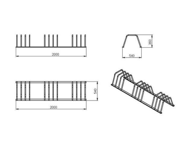 veloparkovka vs19 schema 600x500 - Велопарковка двусторонняя ВС-19