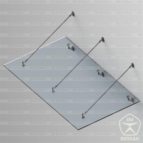 Козырек стеклянный на тягах с рутелями. Тип 7.1