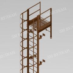Металлическая пожарная лестница с ограждением