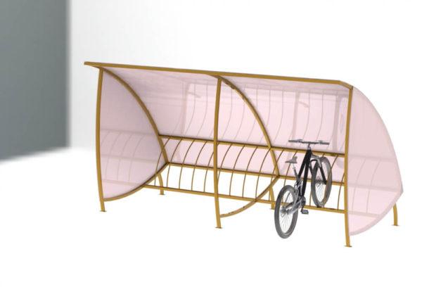 veloparkovka vn4 600x408 - Навес для велостоянки под 45 градусов ВН-4
