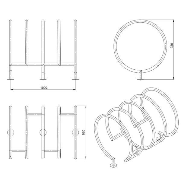 veloparkovka vs28 schema 600x600 - Велопарковка спираль ВС-28