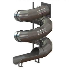 Скат спиральной горки-туннеля из нержавеющей стали