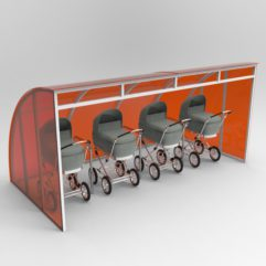 Naves s kolyaskami 241x241 - Парковка для колясок с навесом из поликарбоната