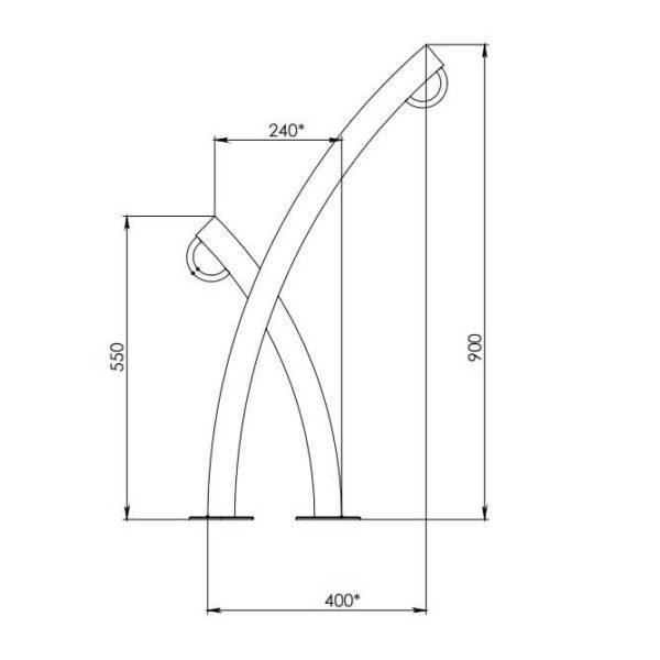 """Дизайнерская велопарковка """"веточка"""" размерная схема"""